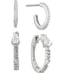 nadri lucca set of 2 hoop earrings in rhodium at nordstrom