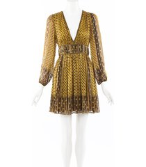 ulla johnson floral print silk pleated dress black/yellow/floral print sz: xs