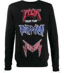 philipp plein stud embellished sweatshirt - black