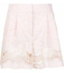 alberta ferretti jacquard lace-trim shorts - pink
