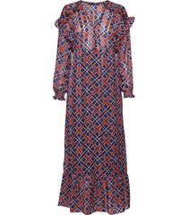 sheer feminine maxi dress with allover print jurk knielengte multi/patroon scotch & soda
