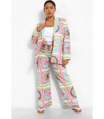 plus sjaal print broek, pink