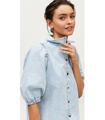 blus puff ss denim blouse