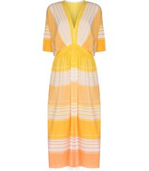 lemlem eshal striped dress - yellow