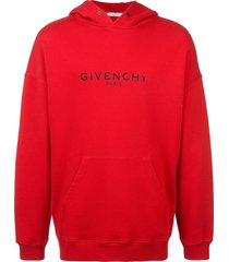 givenchy paris logo vintage hoodie - red