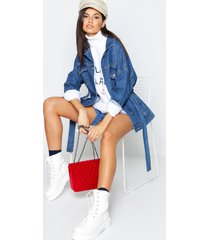 belted oversize longline jean jacket, mid blue