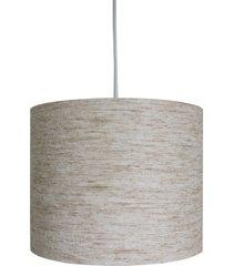 luminária crie casa lustre pendente revestida tecido linho bege
