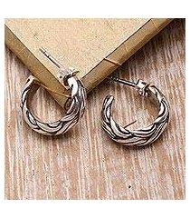sterling silver half-hoop earrings, 'elegant braid' (indonesia)
