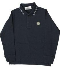 stone island long sleeve polo shirt in bleu