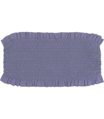 women's tory burch costa smocked bandeau bikini top, size small - grey