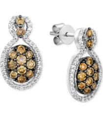le vian chocolatier diamond cluster drop earrings (1 ct. t.w.) in 14k white gold