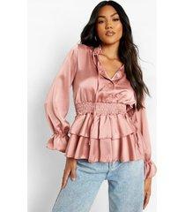 matte satijnen peplum blouse met volle mouwen, desert rose