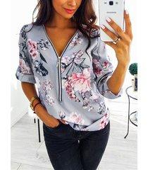 blusa con estampado floral al azar en la parte delantera con cremallera