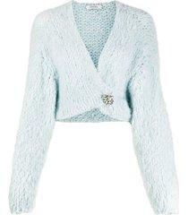 dorothee schumacher chunky-knit brooch-detail cardigan - blue