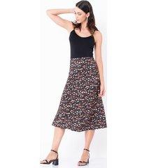 falda midi estampado floral cintura alta
