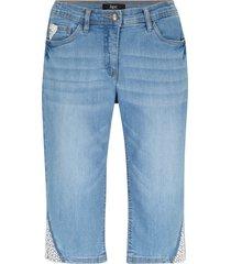 bermuda di jeans elasticizzati con pizzo e cinta comoda (blu) - bpc bonprix collection