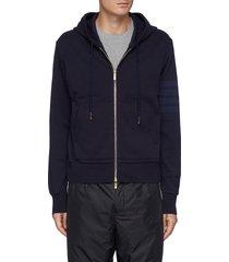 tonal four bar sleeve cotton zipped hoodie