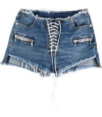 unravel project lace-up denim shorts - blue