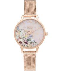 olivia burton women's enchanted garden rose gold-tone mesh bracelet watch 30mm