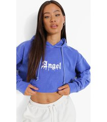 korte overdye angel hoodie, blue