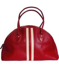 bolso de viaje rojo con beige en cuero