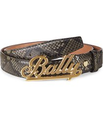 swoosh logo snakeskin-embossed leather belt