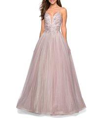 women's la femme lace bodice tulle ballgown