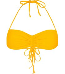frankies bikinis ruby ruched bikini top - yellow