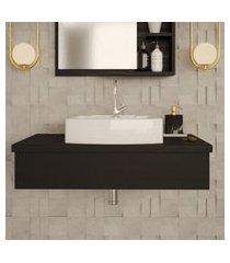 conjunto para banheiro bancada com cuba aria 41 retangular city 800 preto ônix