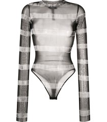 diesel stretch-mesh striped bodysuit - black