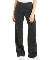 theory women's melange ponte wide leg pants - charcoal - size 6