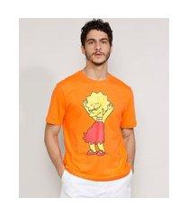 camiseta masculina manga curta lisa simpson dançando gola careca laranja