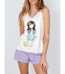 pyjama's / nachthemden admas pyjama shorts tank top little duck santoro ivoor