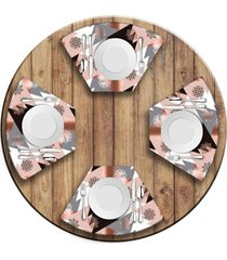 jogo americano   para mesa redonda wevans modern christmas  love decor - multicolorido - dafiti
