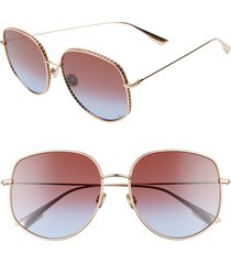 women's dior 58mm gradient square sunglasses - gold copp/ blue red blue