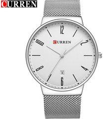 curren / 8257 reloj de pulsera de malla de acero-blanco