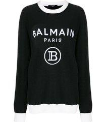 black and white intarsia logo sweater