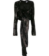 16arlington tie detail sequin blouse - black