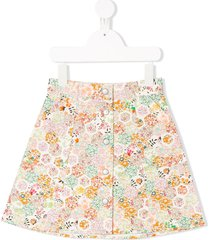 bonpoint floral panelled skirt - white