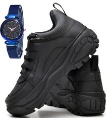 tênis sapatênis plataforma fashion com relógio sky feminino dubuy 731el preto