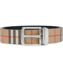 burberry reversible vintage check e-canvas and leather belt - brown