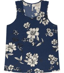 regata feminina floral rovitex azul