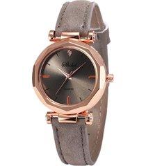 reloj pulsera mujer cuarzo analogico pulso cuero pu 932 gris