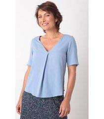 blusa decote com prega viscose - feminino