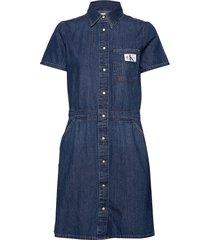 modern shirt dress knälång klänning blå calvin klein jeans