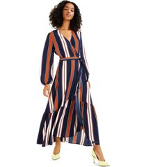 bar iii high-low striped maxi wrap-dress, created for macy's