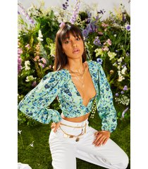 crop top met laag decolleté, pofmouwen en rugstrik, green