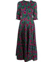 rixo kristen hibiscus midi dress - green
