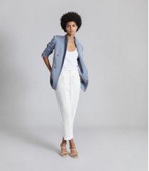 reiss jett - wool blend double breasted blazer in blue, womens, size 14