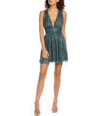 lulus metallic stripe twist back cocktail dress, size x-small in gold/teal at nordstrom